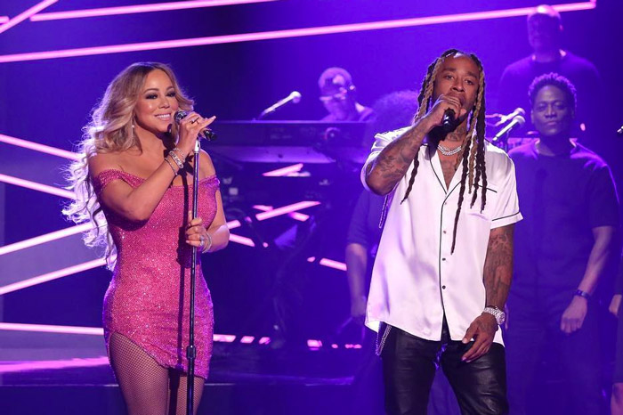 "Carey and Ty Dolla Sign perform ""The Distance"" on  The Tonight Show with Jimmy Fallon  in November 2018. In the mid-1990s Carey pioneered the R&B and hop-hop fusion that persists today."
