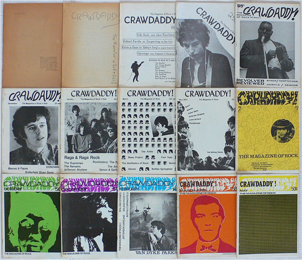 Crawdaddy   magazine was one of the first music magazines to examine rock music as a serious expressive form in the late 1960s and articulate evaluative criteria for pop music (Image source: Recordmecca).