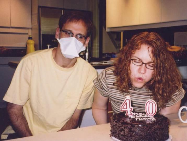 Celebrating my wife's birthday while I was in quarantine