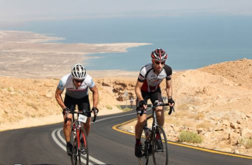Climbing from the Dead Sea 400 m below sea level
