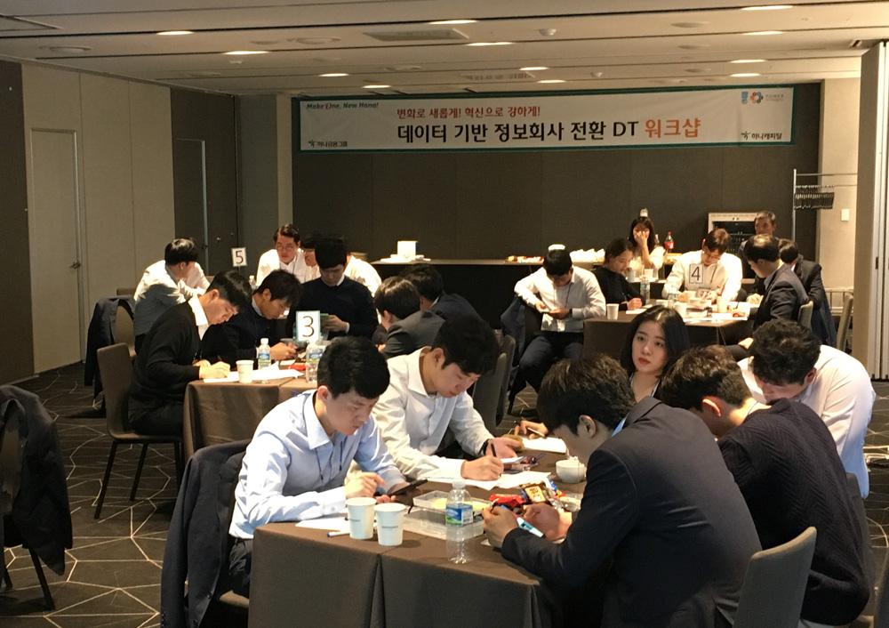 하나캐피탈은 2018년 11월 김포마리나베이 호텔에서 '데이터 기반 정보회사 전환 DT 워크샵'을 진행하였다. 사진은 위디엑스 이종원 대표의 워크샵 중 신규 스마트폰 앱 서비스 기획 방법론 실습 중인 하나캐피탈 직원들의 모습.