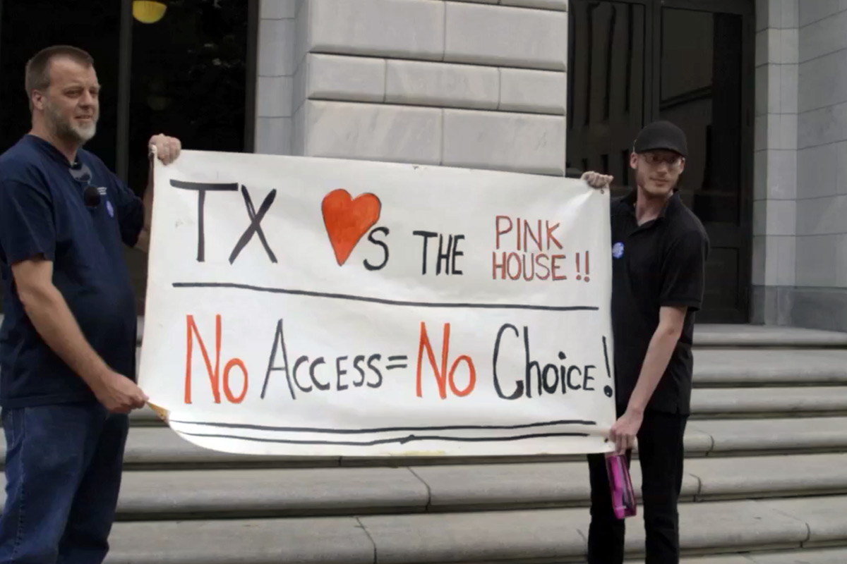 Pro-Choice supporters gather on the steps of the 5th Circuit Court of Appeals in New Orleans, La.