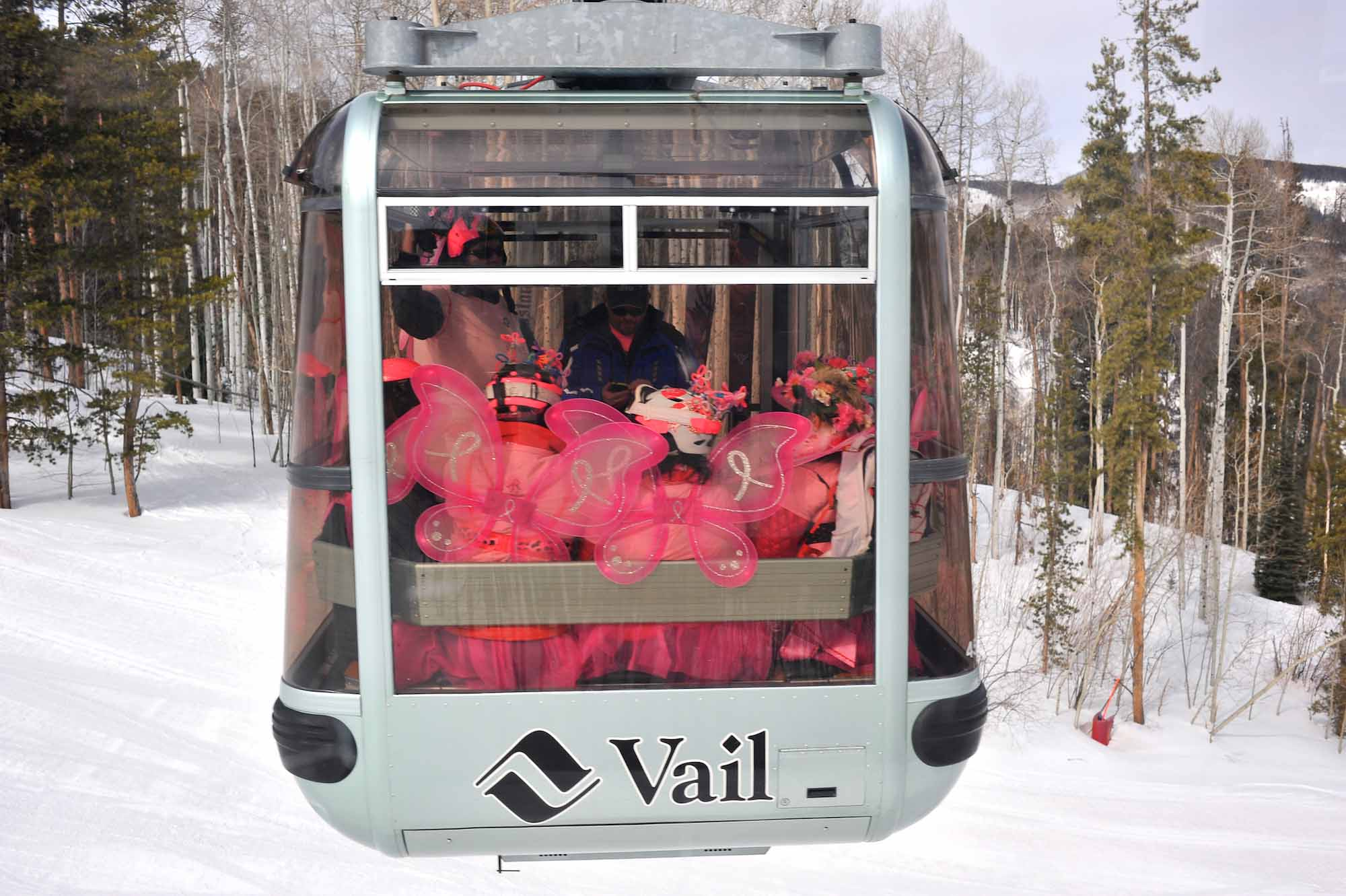 Participants in the Pink Vail fundraiser to fight breast cancer ride the Eagle Bahn Gondola to Eagle's Nest in Vail, Colo. on Saturday, April 5, 2014. Of its 1,625 participants, Pink Vail raised a total of $386,535 which goes directly to the Shaw Regional Cancer Center.