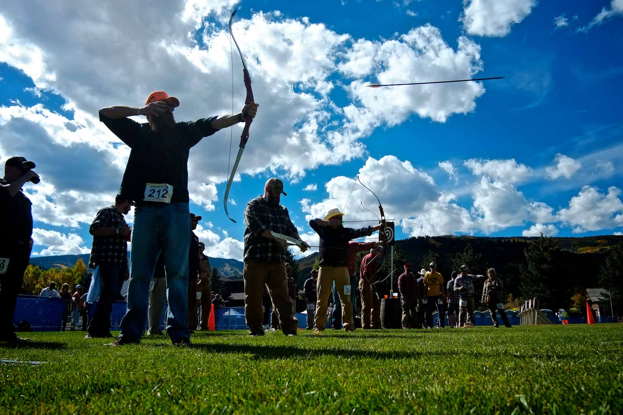 Rob MacDonald competes in the archery competition during the Man of the Cliff event on Saturday, Sept. 27, 2014 in Avon, Colo. The Man of the Cliff event is a fundraiser, donating 100% of its proceeds to the local charity First Descents.