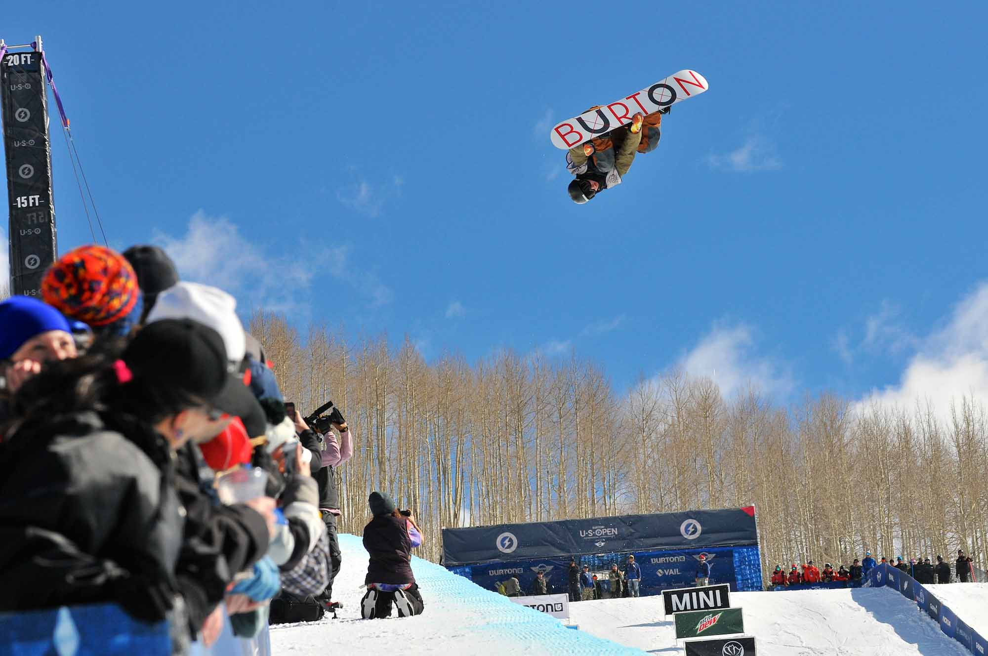 David Habluetzel, of Switzerland, soars out of the halfpipe during the Burton U.S. Open Snowboarding Championships halfpipe finals in Vail, Colo. on Saturday, March 8, 2014. Habluetzel finished third with an overall score of 83.23.