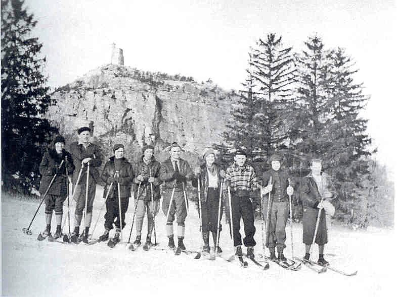 A group of ski tourists below Sky Top in the 1930s. Courtesy of MMHA