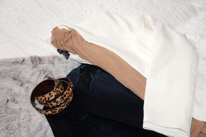 White blazer & Tan longsleeve tee- Forever21 / Leopard Belt - J.Crew