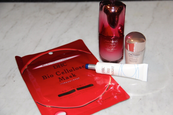 DHC Bio Cellulose Mask, ShiSeido Ultime Power Infusing Concentrate, ShiSeido Benefiance Night Emulsion, DHC Eye Bright