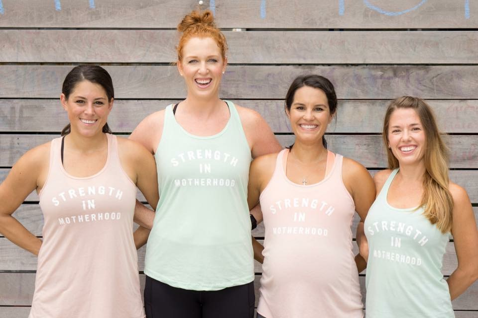 Rachel McClellan, Fit4Mom co-owner is pictured second from left with 3 moms in FIT4MOM.