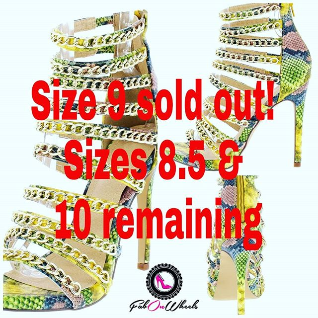 "SHOE OF THE WEEK DIVAS! SIZE 9 SOLD OUT!!! Sizes 8.5 & 10 only. These heels will make you the ""it girl""! Open toe, covered stiletto heel & multi strap upper with chain detailing. $29.99. We're more than shoes we're a lifestyle. #stayfabulous! . . . . . . #shoelove #heels #stiletto  #shoegasm #shoecloset #shoegamestrong #shoefashion #fabonwheels #higheels #shoes👠 #shoestyllist i#loveshoes #shoeaddiction #shoeaddicts #gold #shoeoftheday #shoeoftheweek"