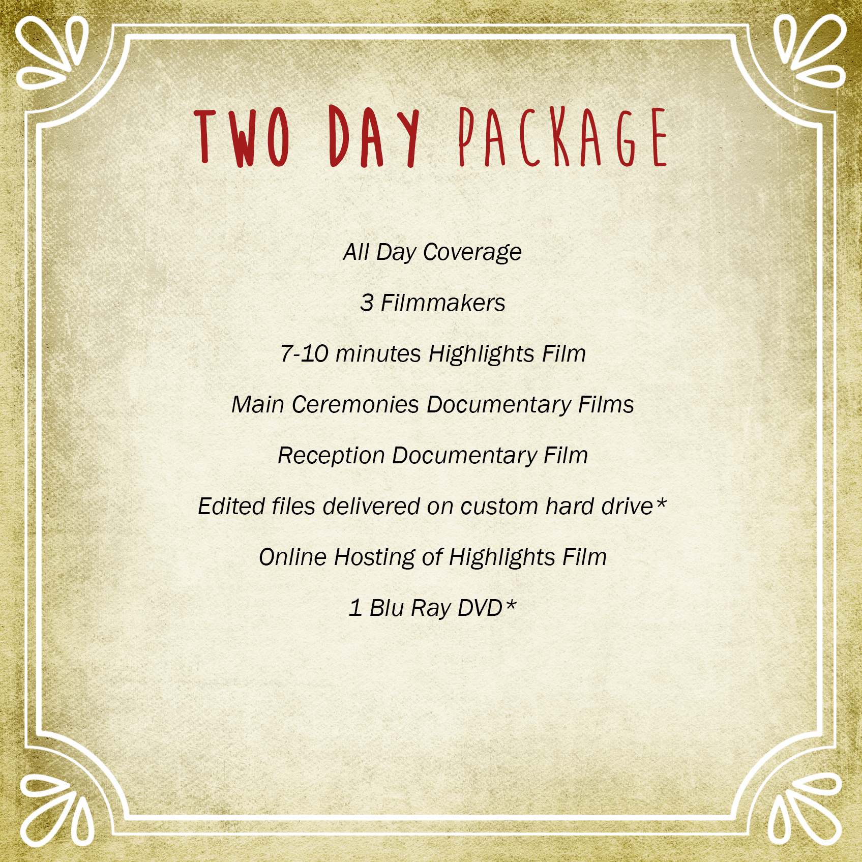 Two Day Package | Vimage Weddings
