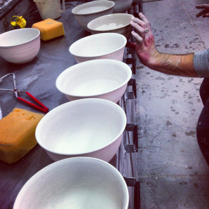 Glazing the bowls