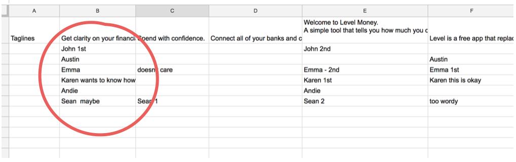 Screenshot of my mini spreadsheet of tagline responses
