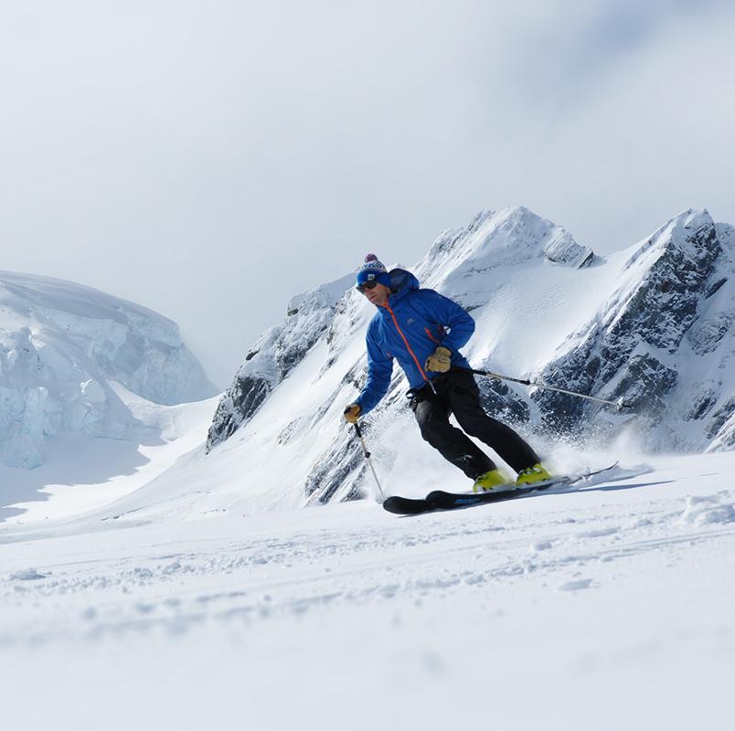 Skiing down the Tasman Glacier