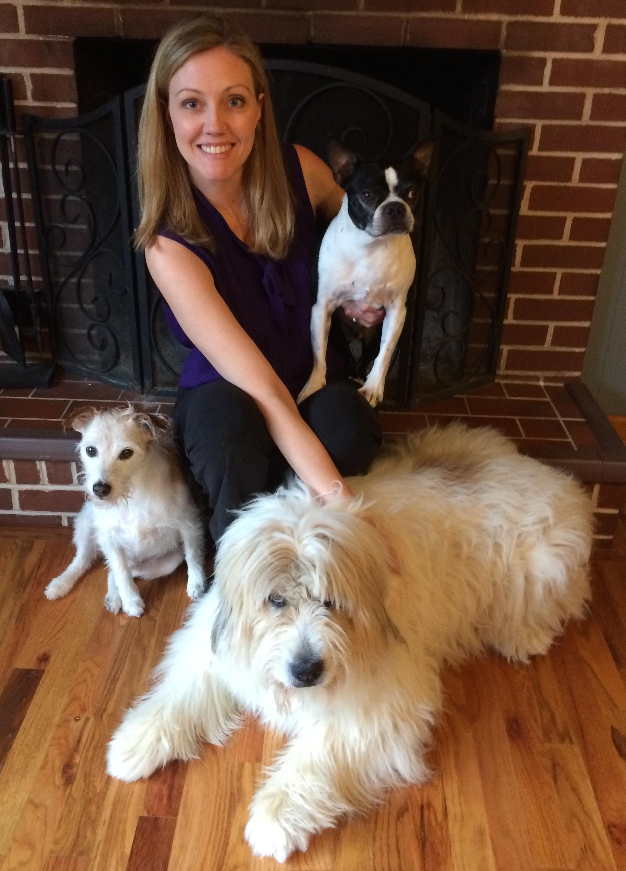Pictured here: Sara, with Buddy, Geno, & Lovie