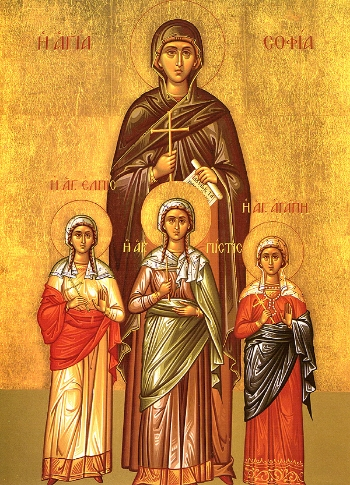 Martyr Sophia and her daughters; Faith, Hope and Agape (Love)