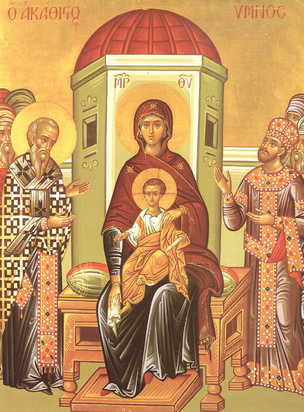 """Icon of the Mother of God '""""of the Akathist"""" of Zographou Monastery"""