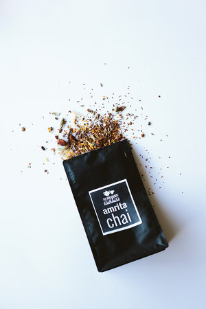 amrita chai   Named after Amrit - Nectar of the Gods our caffeine free chai, perfectly blended together to make a soul warming brew. Enjoy with or without milk, we love coconut!  INGREDIENTS & INFO   Rooibos, calendula flowers, cinnamon, cardamom, ginger, star anise, cloves, fennel