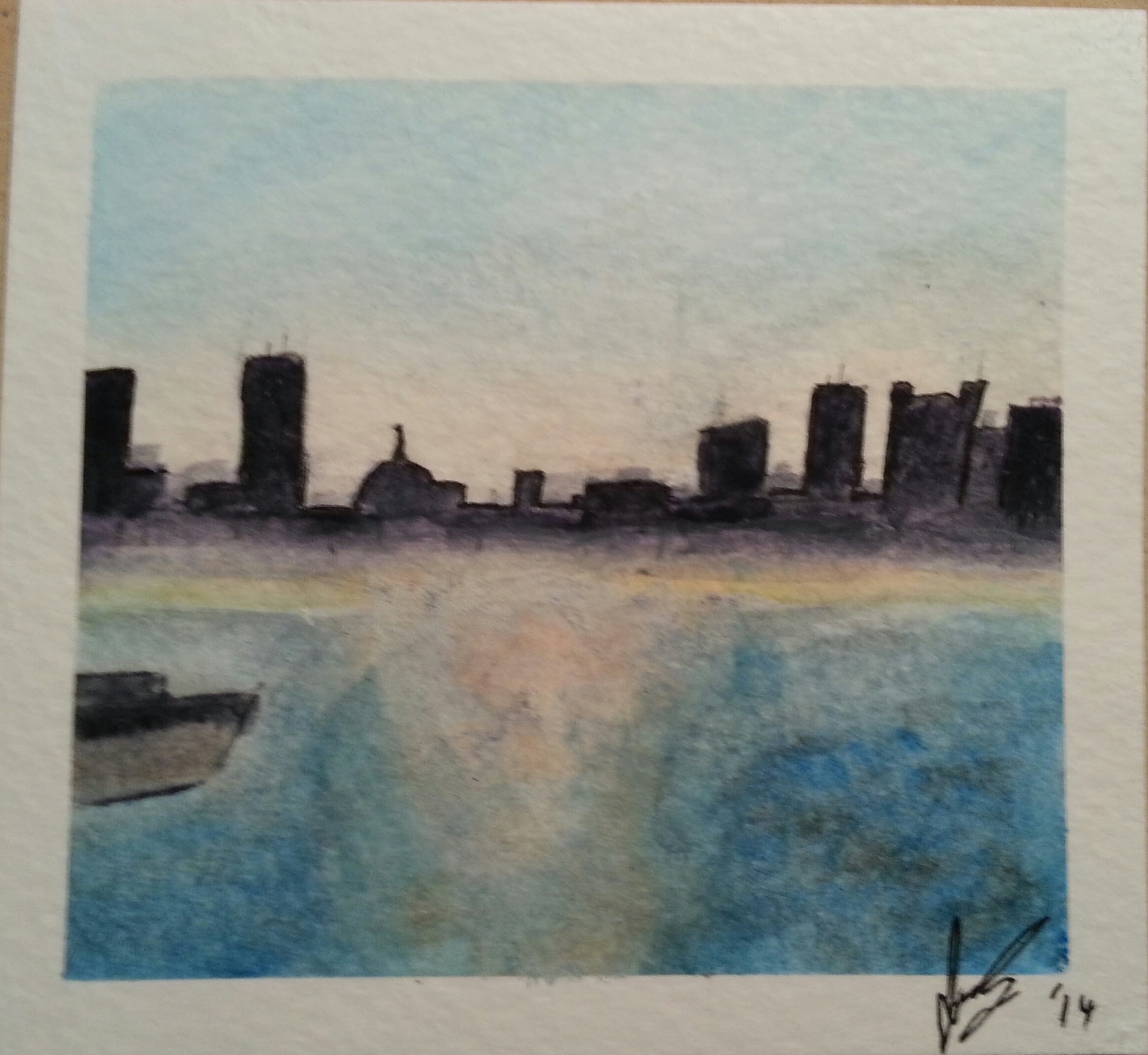 January, 2014  Boston Harbor, painted from a picture I took while working there one summer.