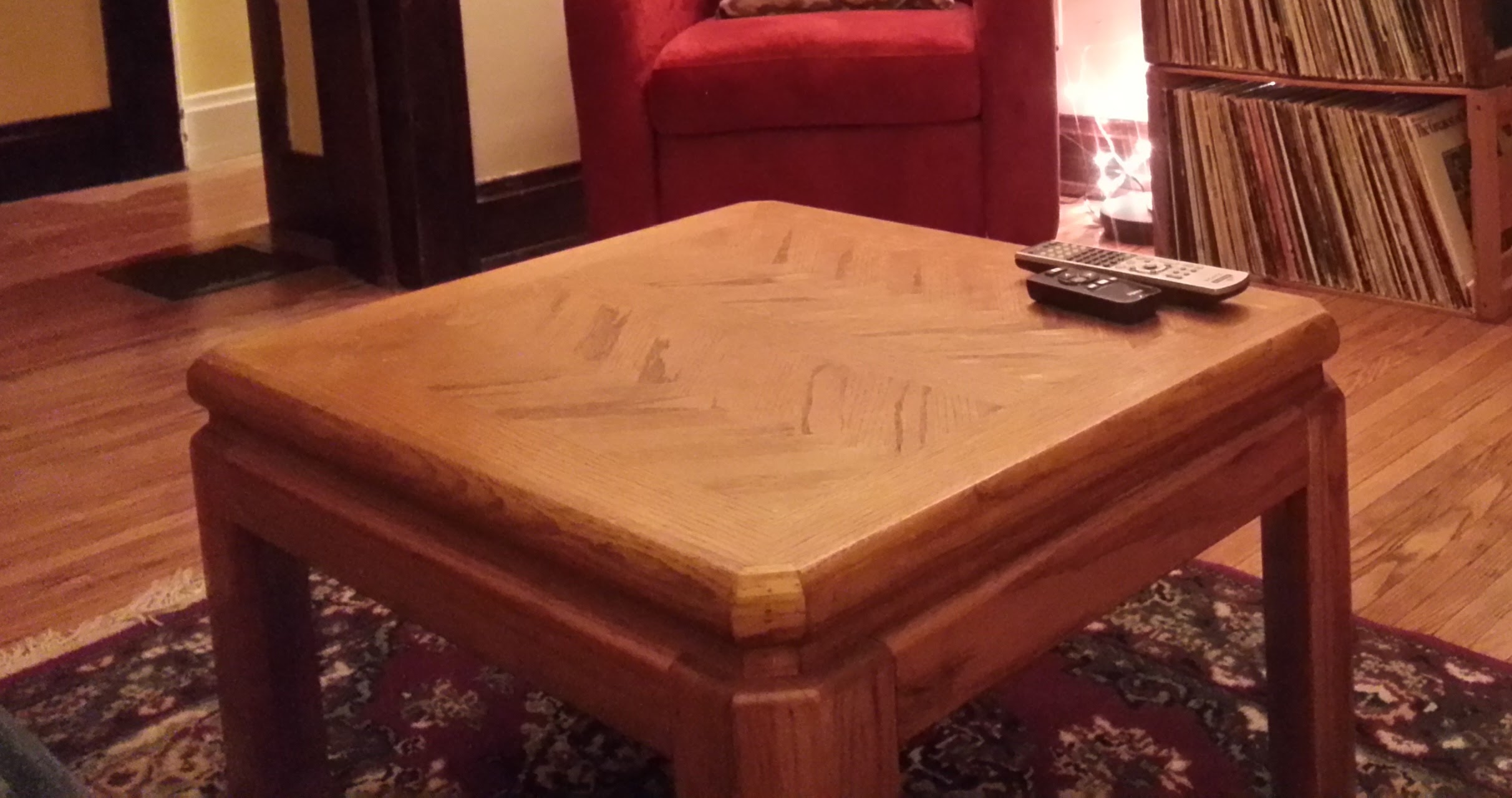 The old coffee table. RIP.