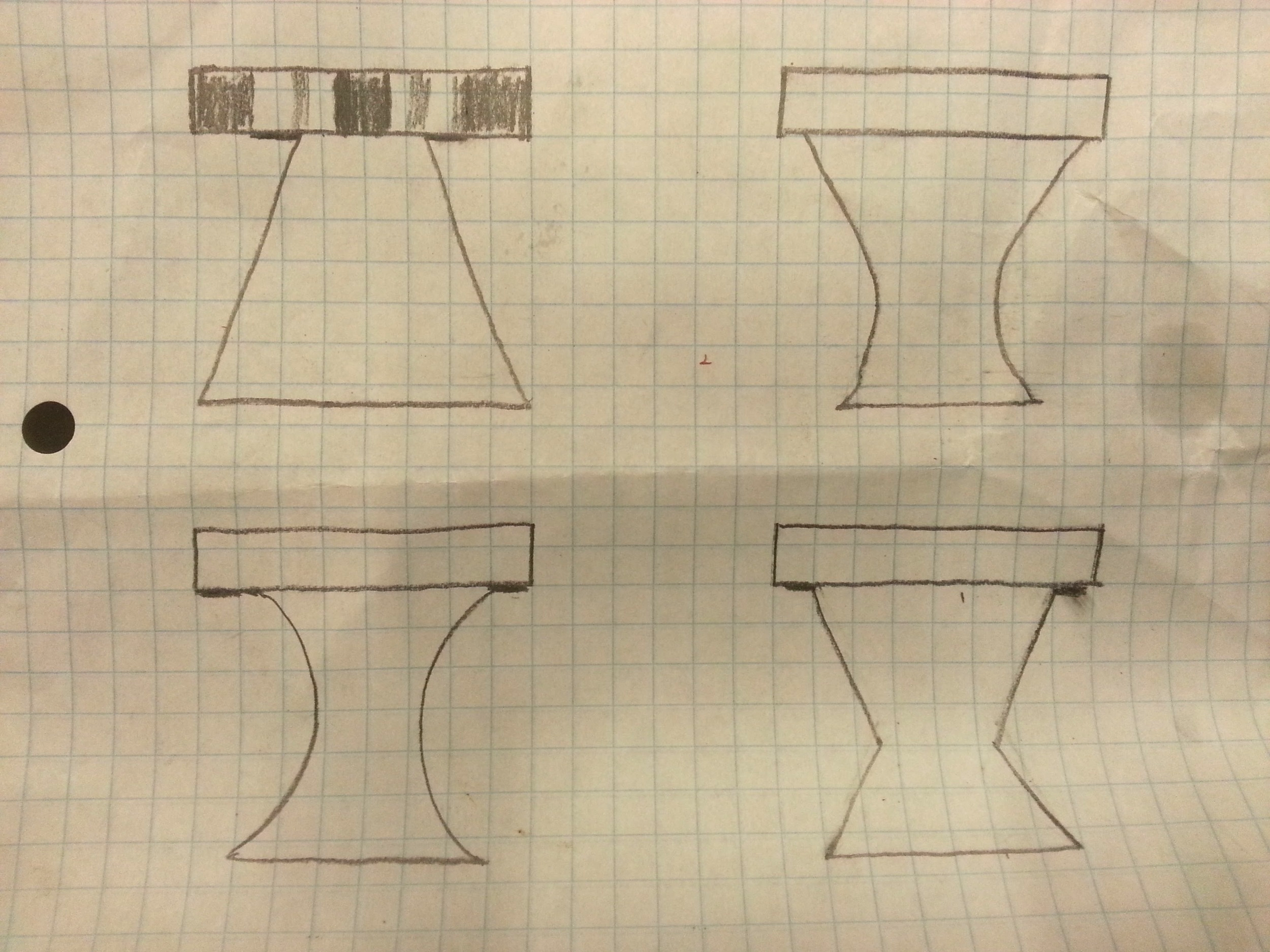 Profile sketches of the laminate pattern of the coffee table, and possible leg configurations. Spoiler alert: I went with the upper-left pattern.