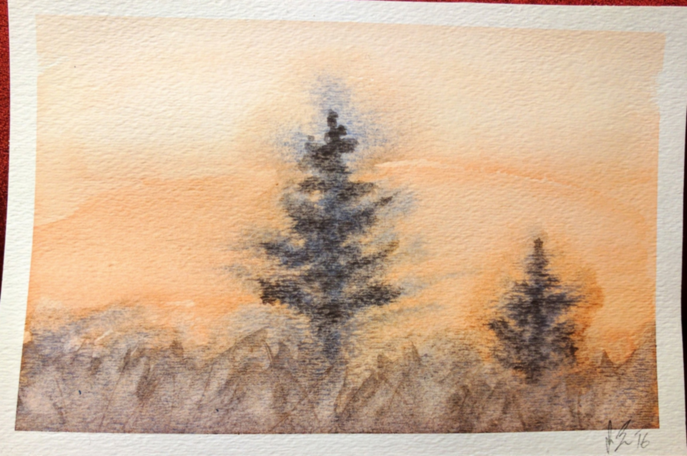 """December, 2016  My attempt at replicating the watercolor """"Two Pines"""" from a watercolor tutorial book I picked up. It needs work, especially in the trees. I'll probably try this one again."""