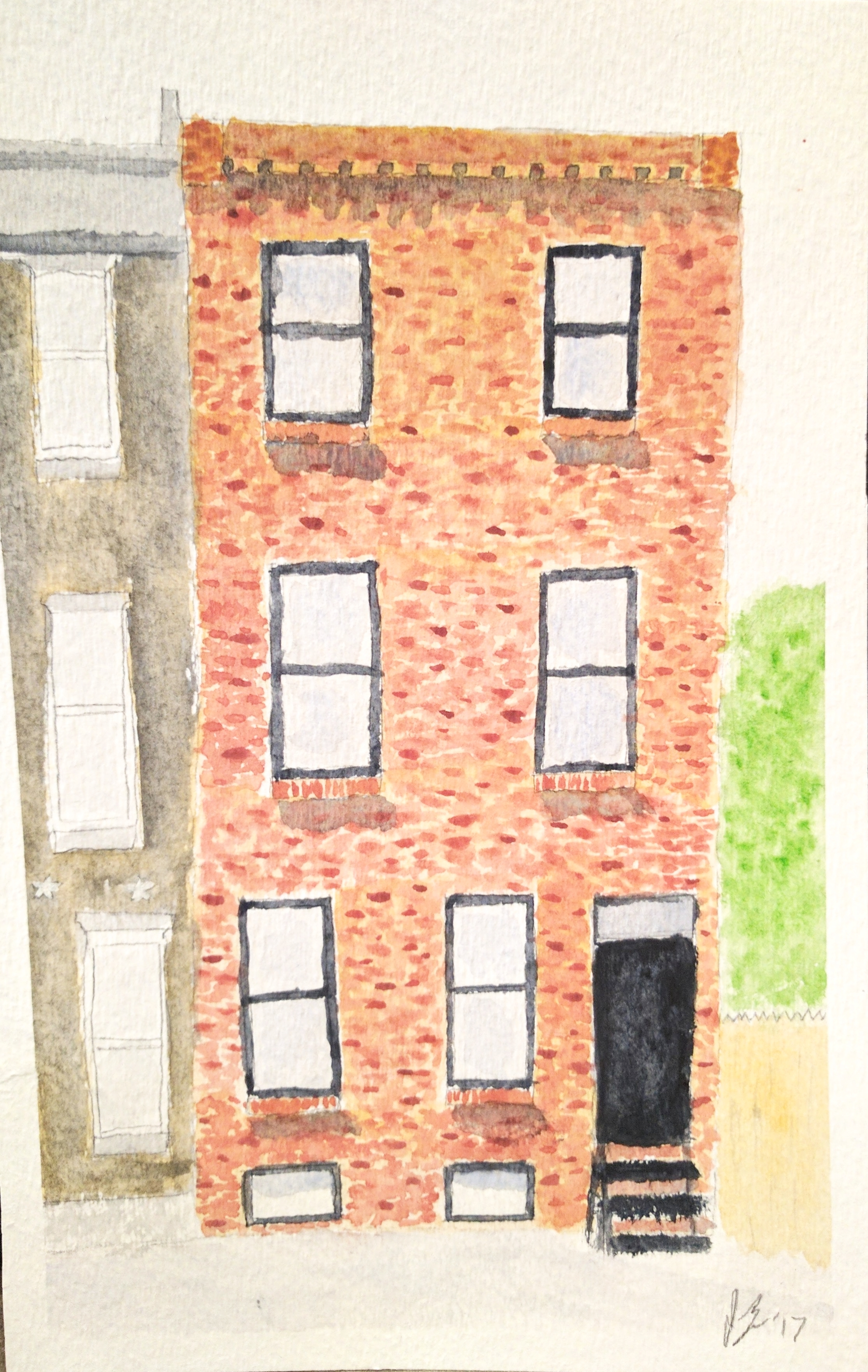 March, 2017  I went on vacation in Philadelphia in March (during a blizzard -- perfect timing), and stayed at a really charming AirBnB. I liked the look of the house, and felt that the architecture was simple enough that I could take a stab at painting it. I'd never painted brick before, and that was a bit of a challenge, but if you don't stare at it too closely, I think it looks pretty good!