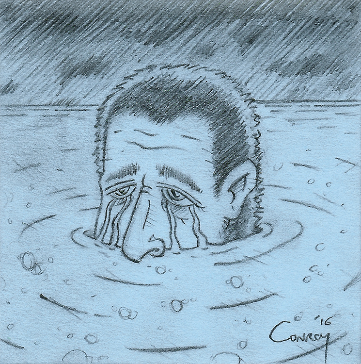 Drawing of man crying a river of tears