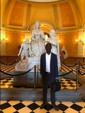 Ladji in the California Capitol Rotunda while accompanying Alicia on a business trip.