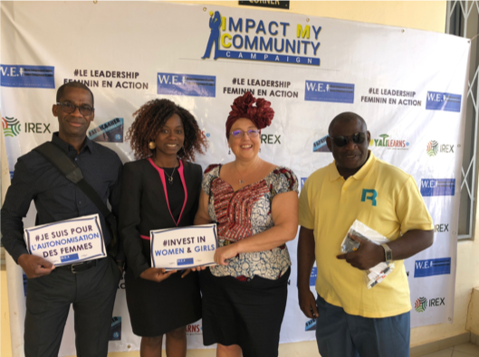 2018 visit, Alicia and Sekou observed WEL in action during a workshop as part of WEL's Impact My Community campaign held at the American Corner in Bouaké.