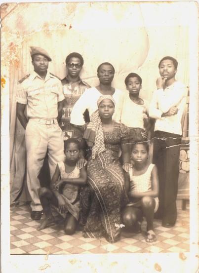 Sekou and his siblings, back row L-R, Ibrahim, Adam, Amidou, Sekou, Zoumana; Front row, L-R, (a cousin), Tata, Mariam.
