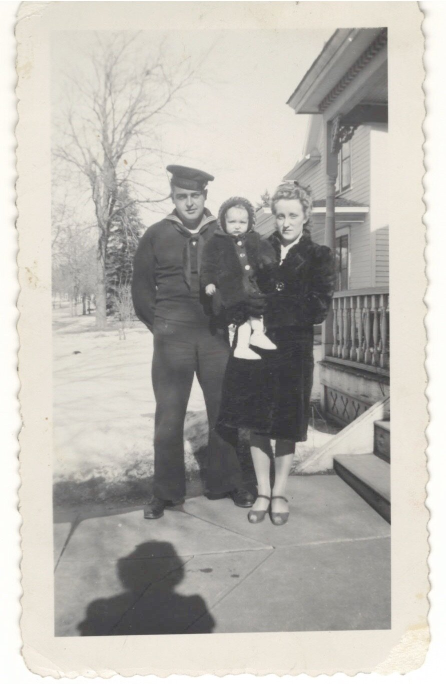 Marion and Orcella Ellis with daughter Patricia on the day that Marion returned to Minneapolis..
