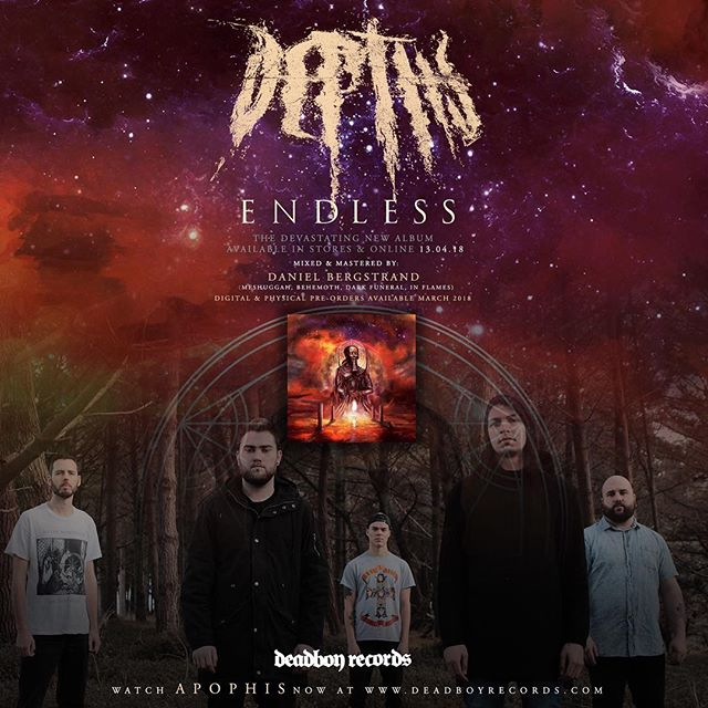 We are excited to announce that New Zealand heavyweights @depthsnz break their silence today with the news you have all been waiting for.  The highly anticipated brand new album 'Endless' will be available in stores and online 13.04.2018 with digital and physical pre orders available March 2018.  Mixed & Mastered by metal maestro Daniel Bergstrand, this will be the most devastating record in the band's already impressive history. Prepare to be crushed.  Head to www.deadboyrecords.com to watch the brand new music video for 'Apophis' now.