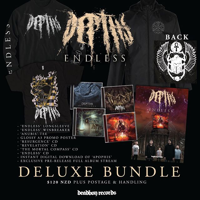 Get your exclusive @depthsnz 'Endless' Pre order bundles NOW while stocks last. CDs fresh from the pressing plant and merch fresh off the press begins shipping out this Friday. All orders receive FREE entry to the 'Endless' album release show at @valhalla.nz on 13.04.2018 order now at http://shop.deadboyrecords.com