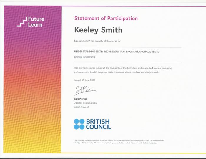 IELTS Preparation Course Certificate 2015