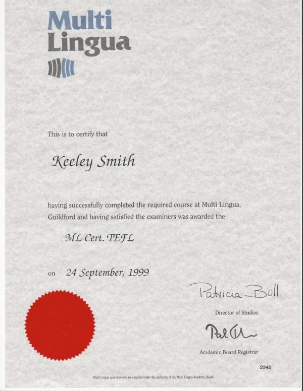 TEFL CERTIFICATE 1999