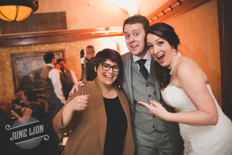 Jenn with AWE newlyweds Jess & Ian post pie cutting! Photo by June Lion.