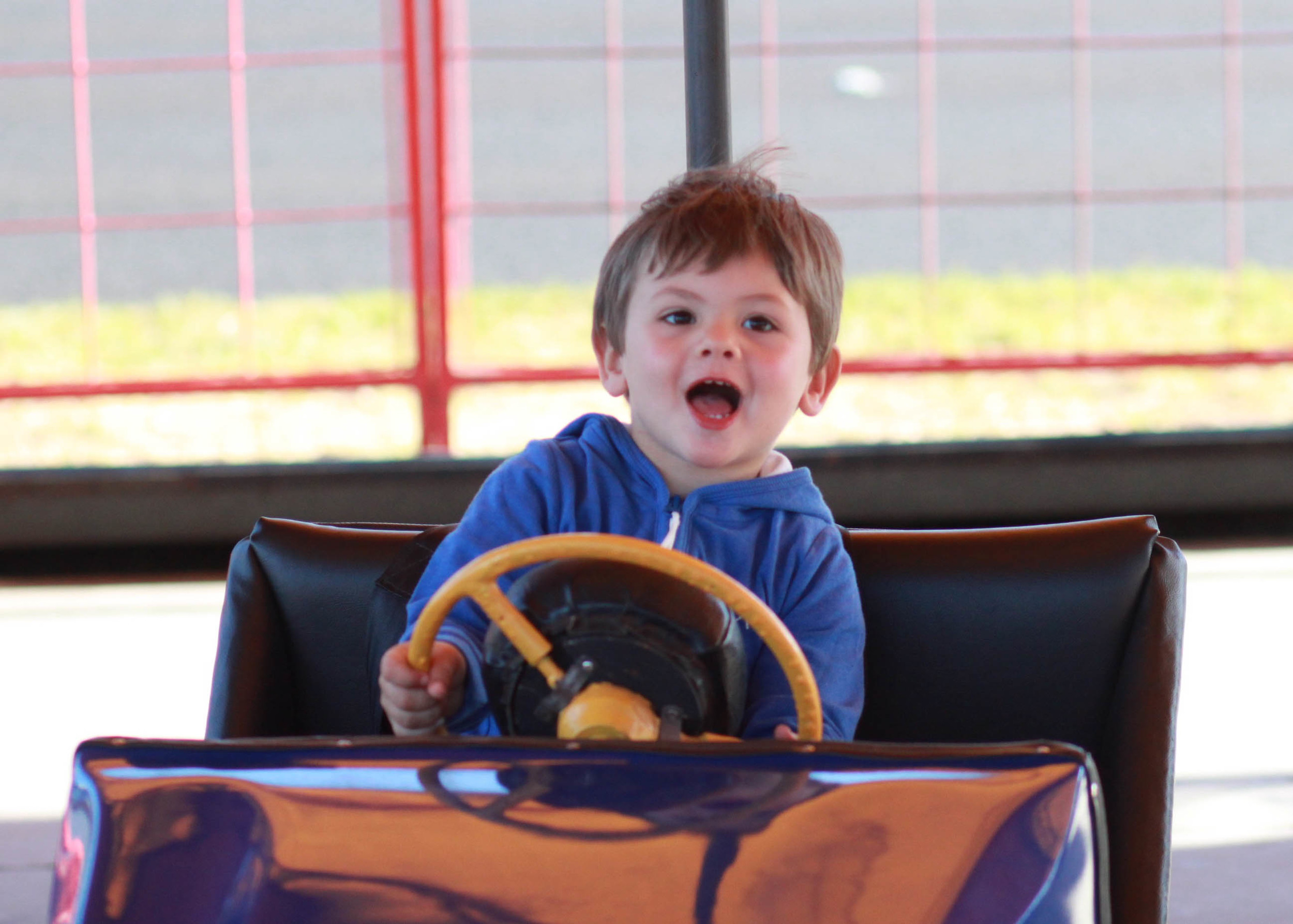 William's first dodgem cars experience - Rye Carnival