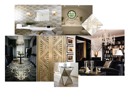 Art Deco style made gold adornment the pinnacle of luxury. It was so divine, rich and timeless. Using gold as highlights against the boldness of black is the perfect marriage. All those elements are easily translated to a modern day home.