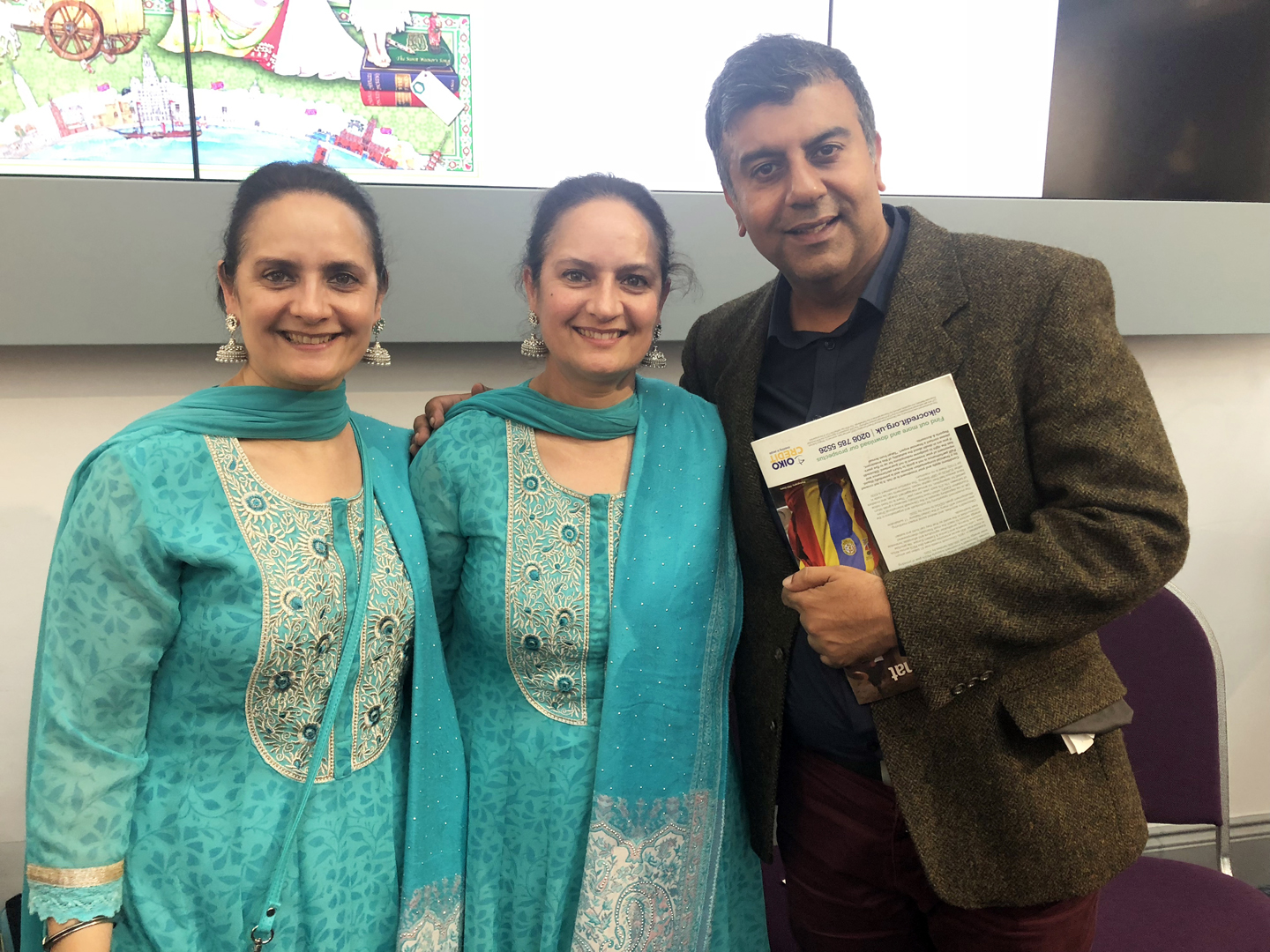 BCVA director Anand Chhabra with artists Amrit and Rabindra 'The Singh Twins' @ W-ton Gallery.