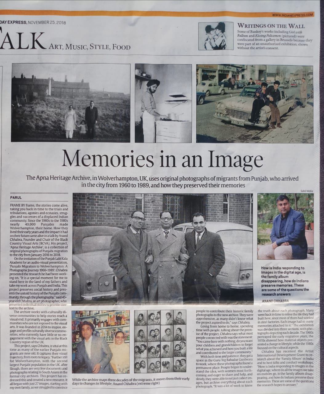 PUNJAB, INDIA  - News about the archive reached the media and was represented across various media in India c/o Diwan Manna (president of the Punjab Lalit Kala Akademi. This was a full page in the broadsheet Indian Express after interview with Anand Chhabra in India and the filmed interview by Parul has been broadcast by Punjabi channels internationally including the UK!