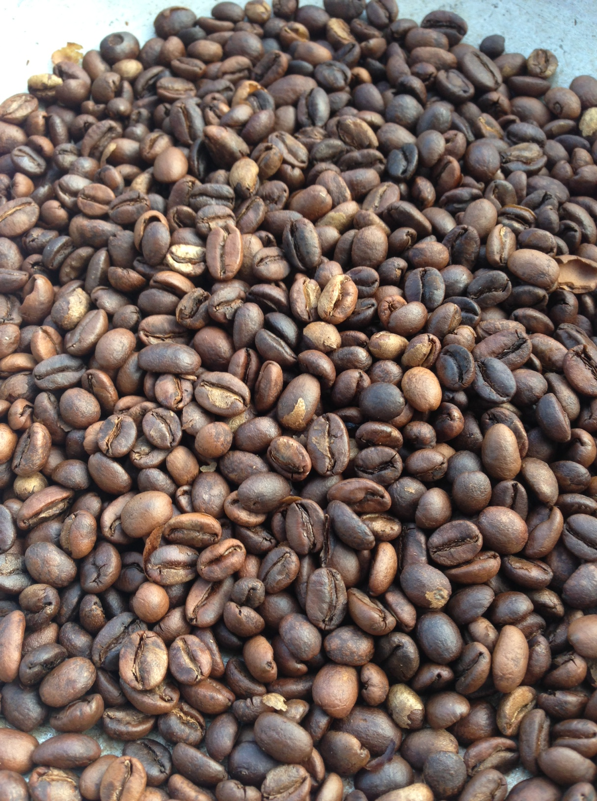 """Look Ma, less tipping! I've heard that the """"Amber beans make it special."""" Totally not true, but it does help me to identify natural-process coffees!"""