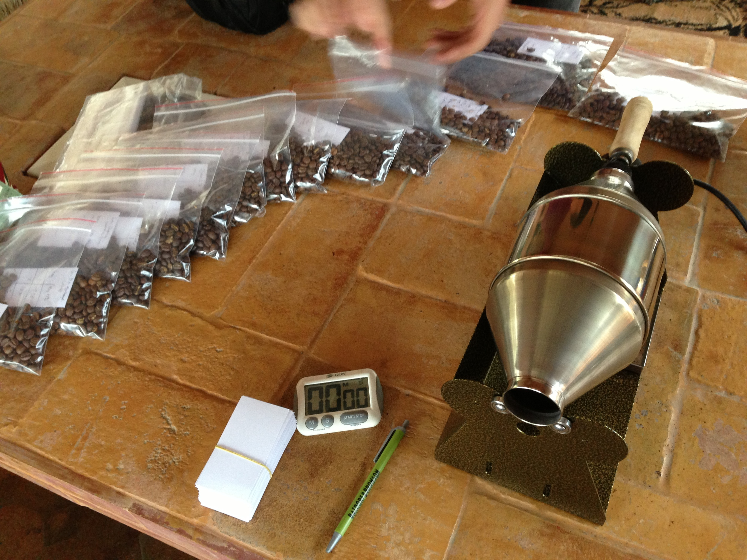 After three hours of set-up, roasting and labeling, the samples will rest until the next day's cupping.