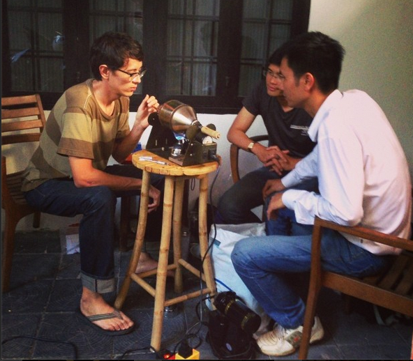 Yours truly with Duy and Quang of La Viet, geeking out over some samples during a porch session.