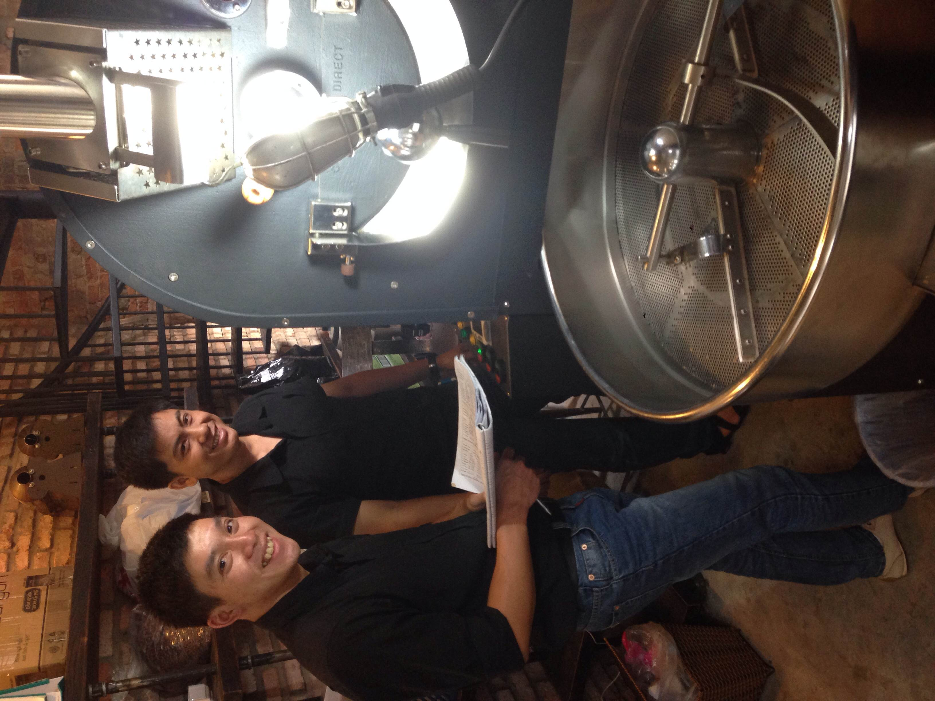 Proud Phong & Truong driving the big machine by themselves.