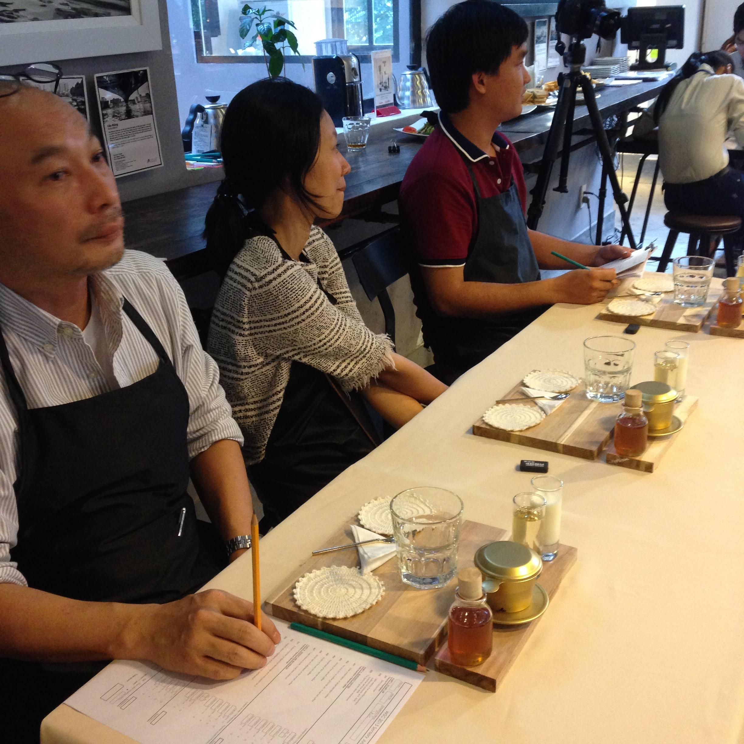 Sensory Judges (Baba, Tiep, and Chau) are ready for the next competitor