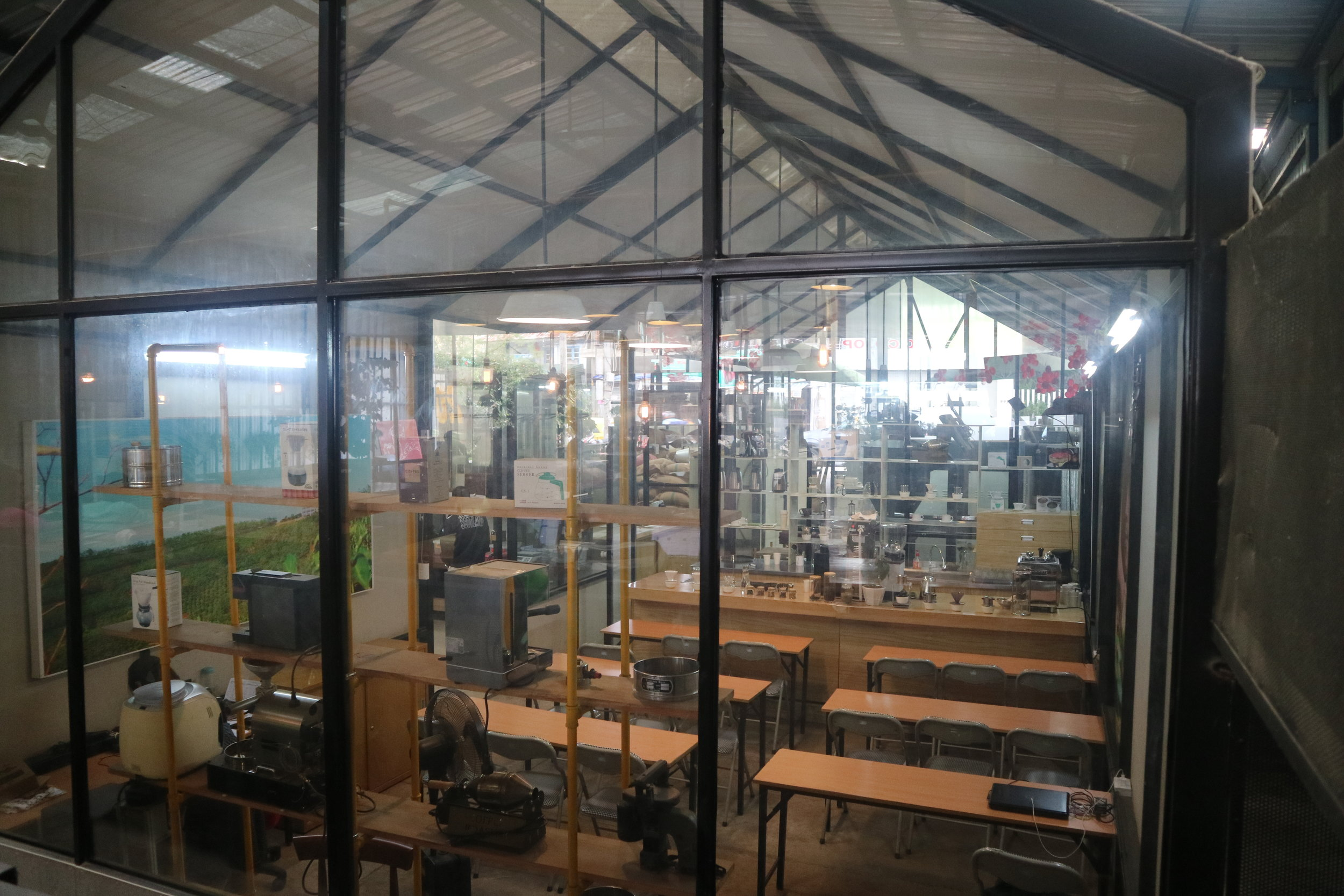 Training room and lab, in a momentary peaceful moment.