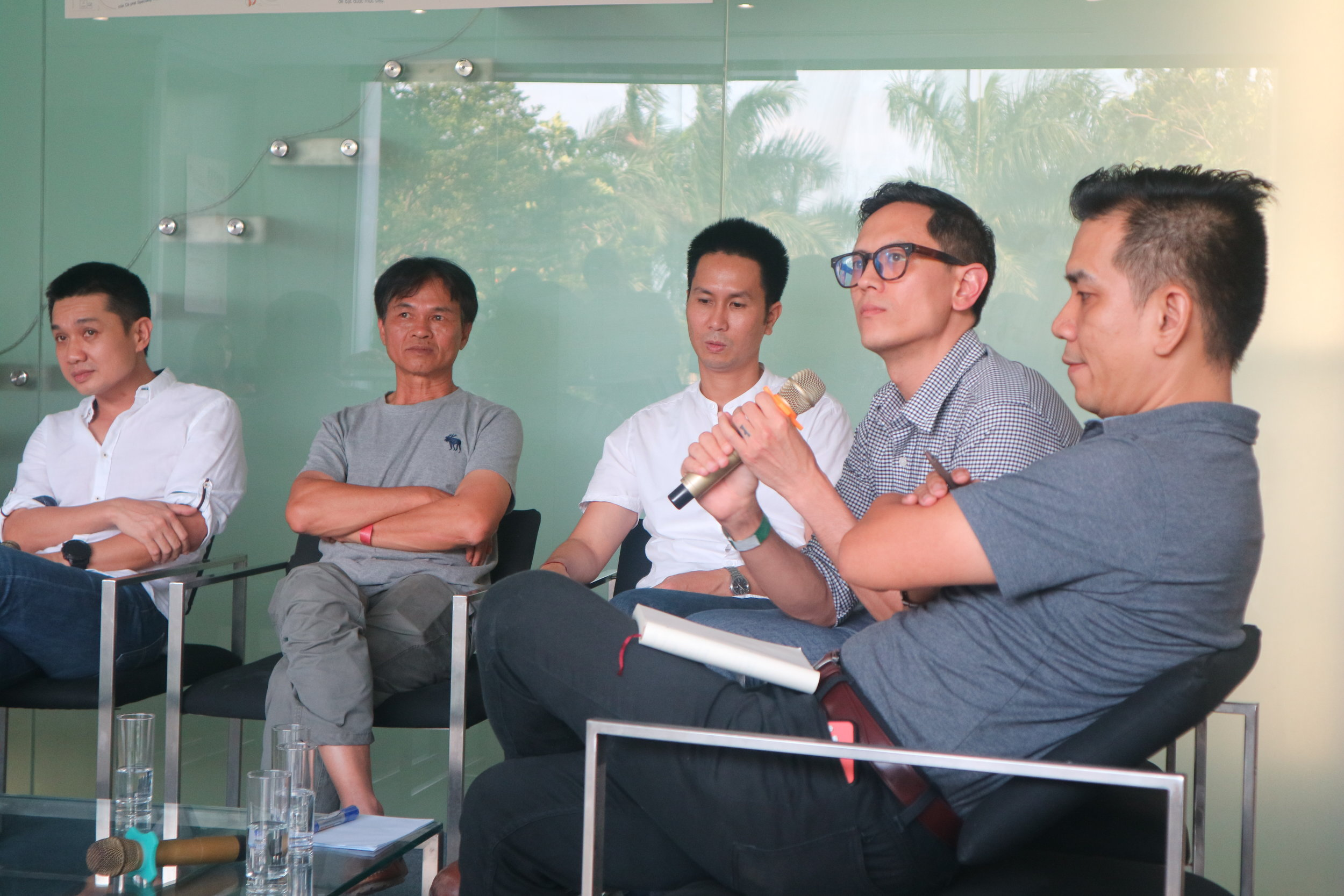 "Dzung Nguyen (Founder of The Workshop, Saigon); Son ""Pacamara"" Nguyen (Producer, Cafe-Roastery owner, Dalat); Quang Tran (Founder of La Viet); yours truly; Hung Nguyen (Founder of Bosgaurus Coffee, Saigon)"