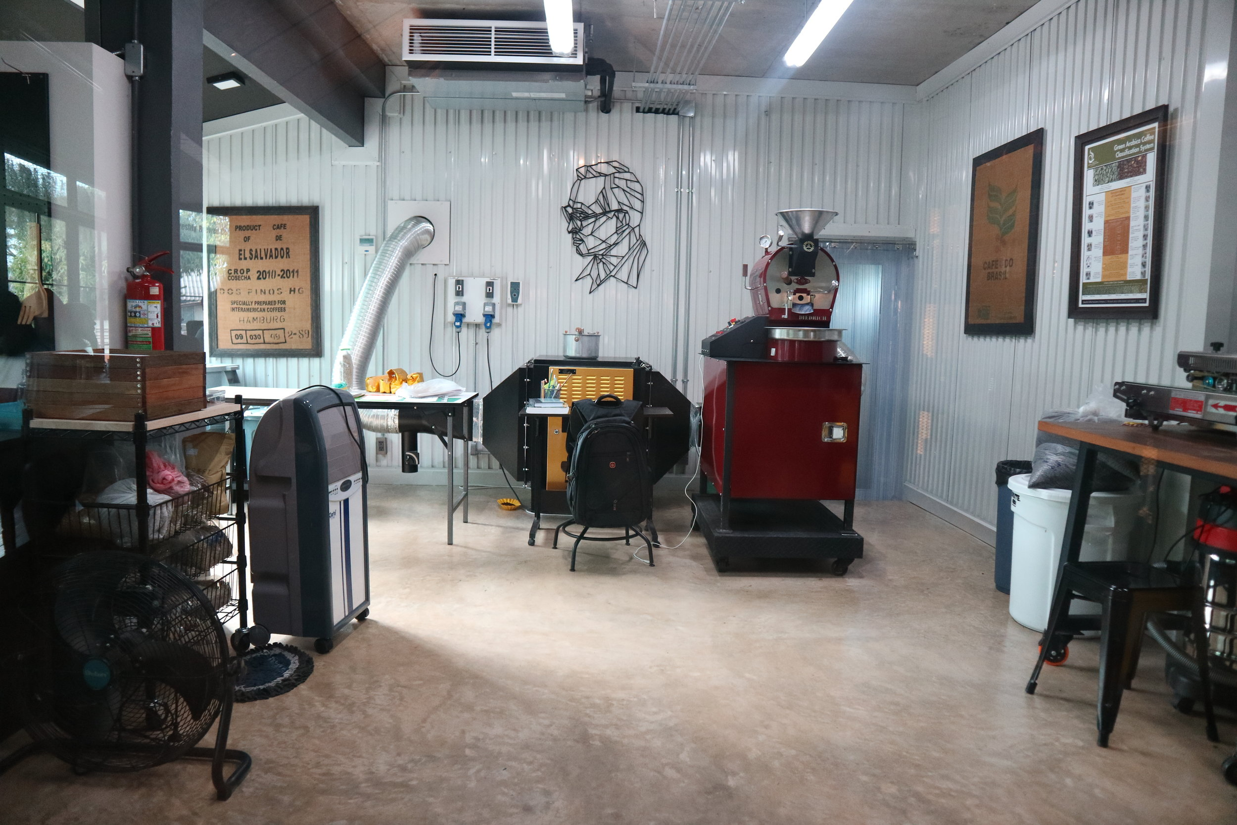 The roastery at The Roastery. Roj has all the best toys and tools...