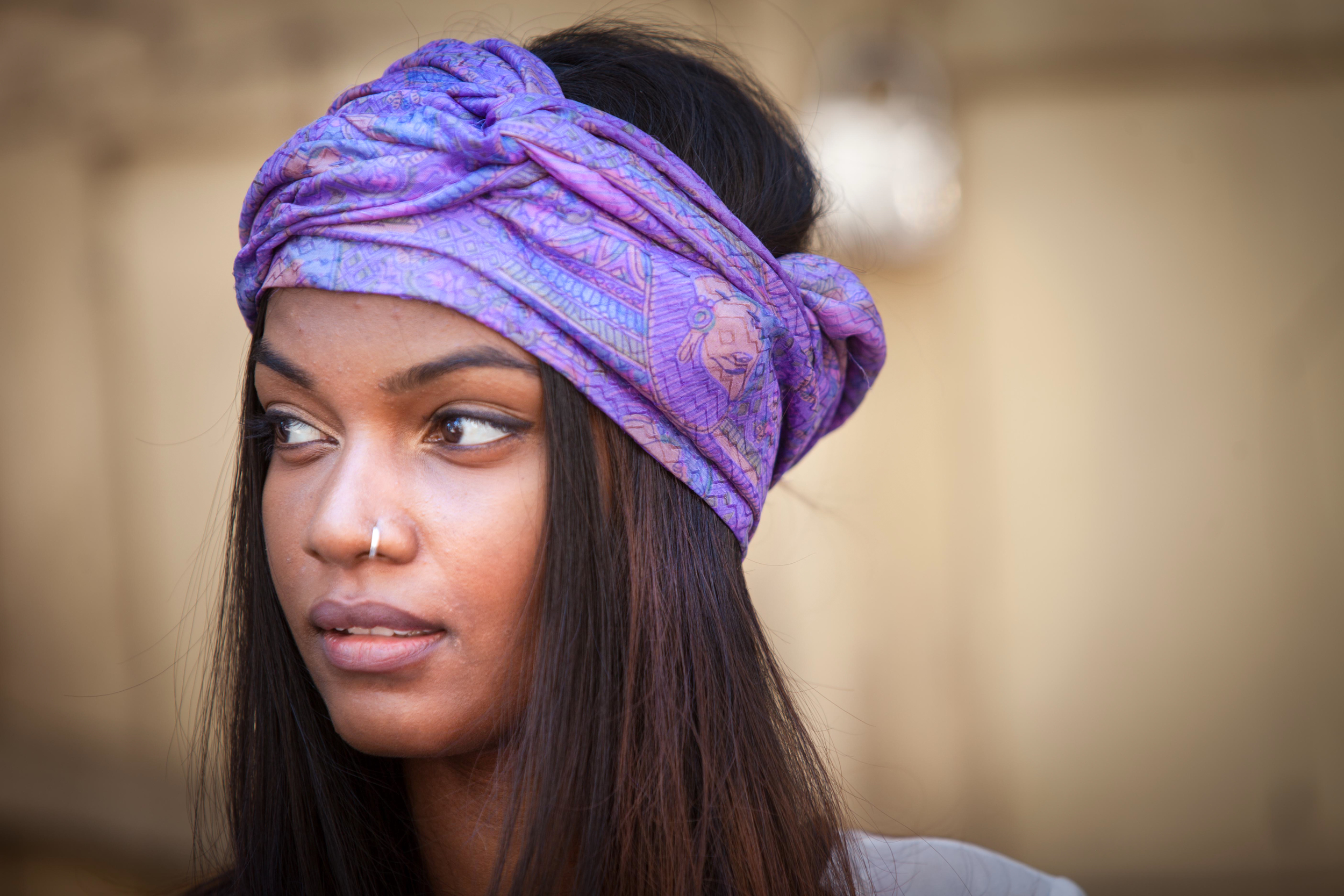 Our model Mary Paul wears the Priyanka Scarf as a head wrap.
